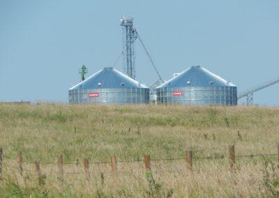 top of farm bins in distance